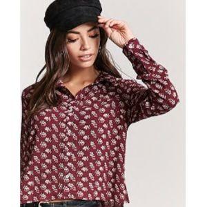 Floral Crepe Shirt Button Down